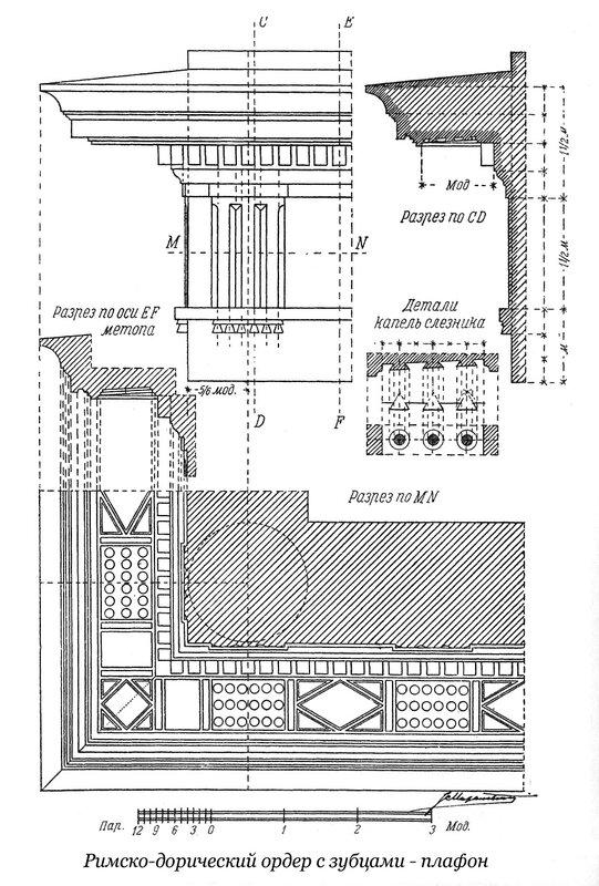Чертежи плафона зубчатого римско-дорического ордераа