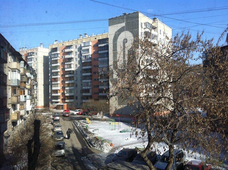 Вид на балконы из окна китайской клиники