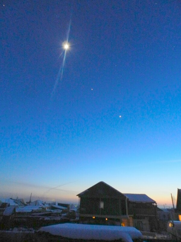 Луна, Венера, Юпитер , Плеяды, Альдебаран.