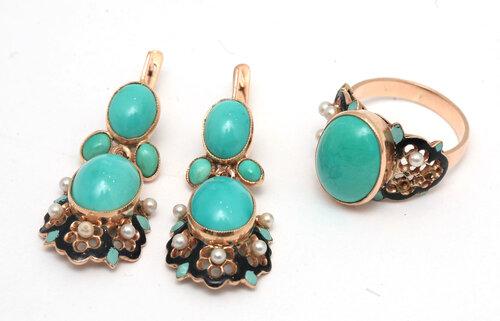 Серьги и кольцо с бирюзой.Золото. 18000-36000 рублей