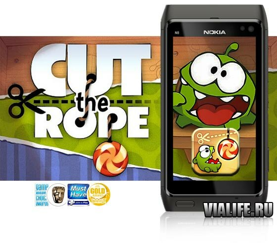 Игра Cut the rope Для телефонов Nokia N8, E7, C7, X7, C6-01