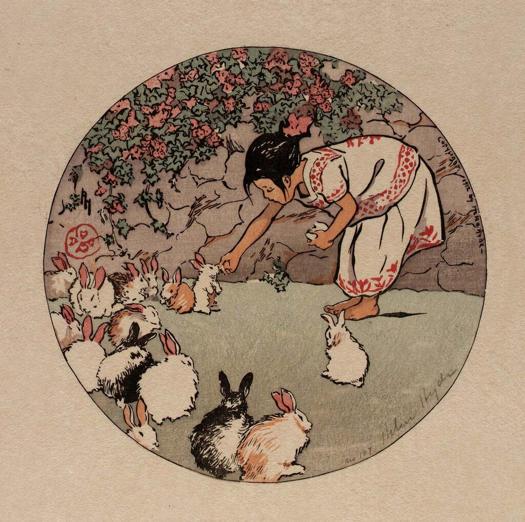Feeding the Bunnies 1912 Helen Hyde