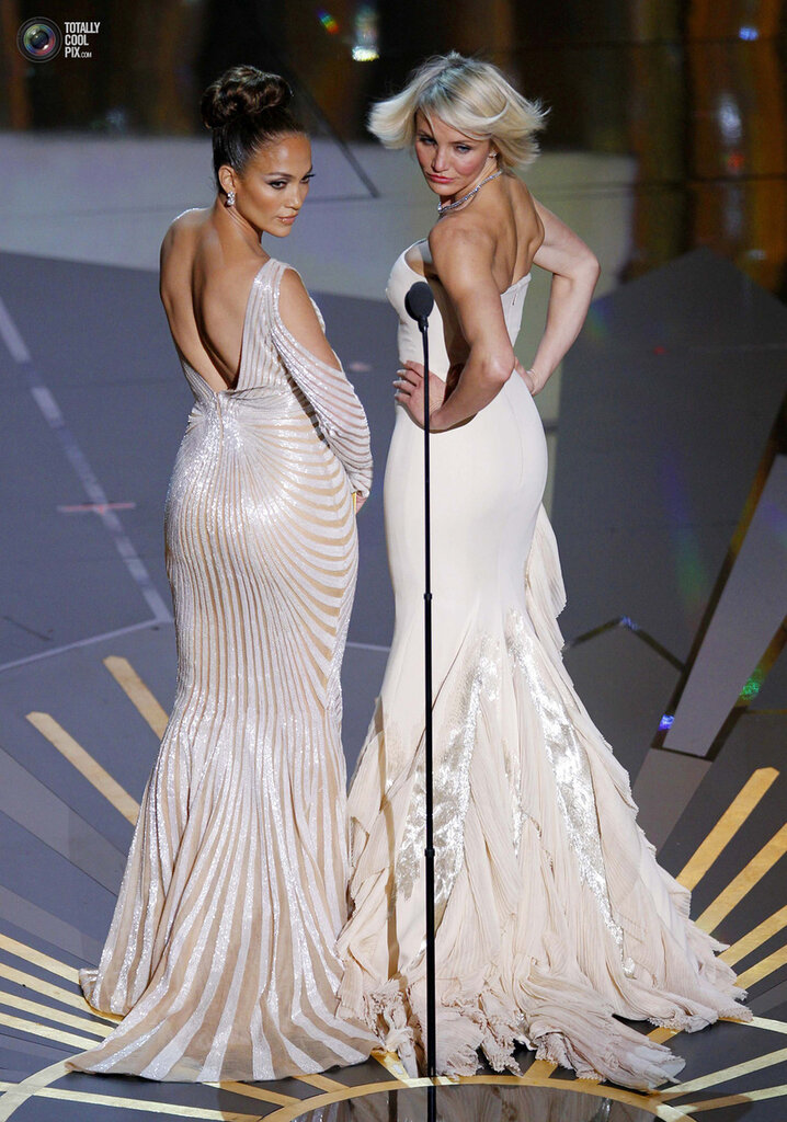 Actresses Jennifer Lopez and Cameron Diaz present at the 84th Academy Awards in Hollywood
