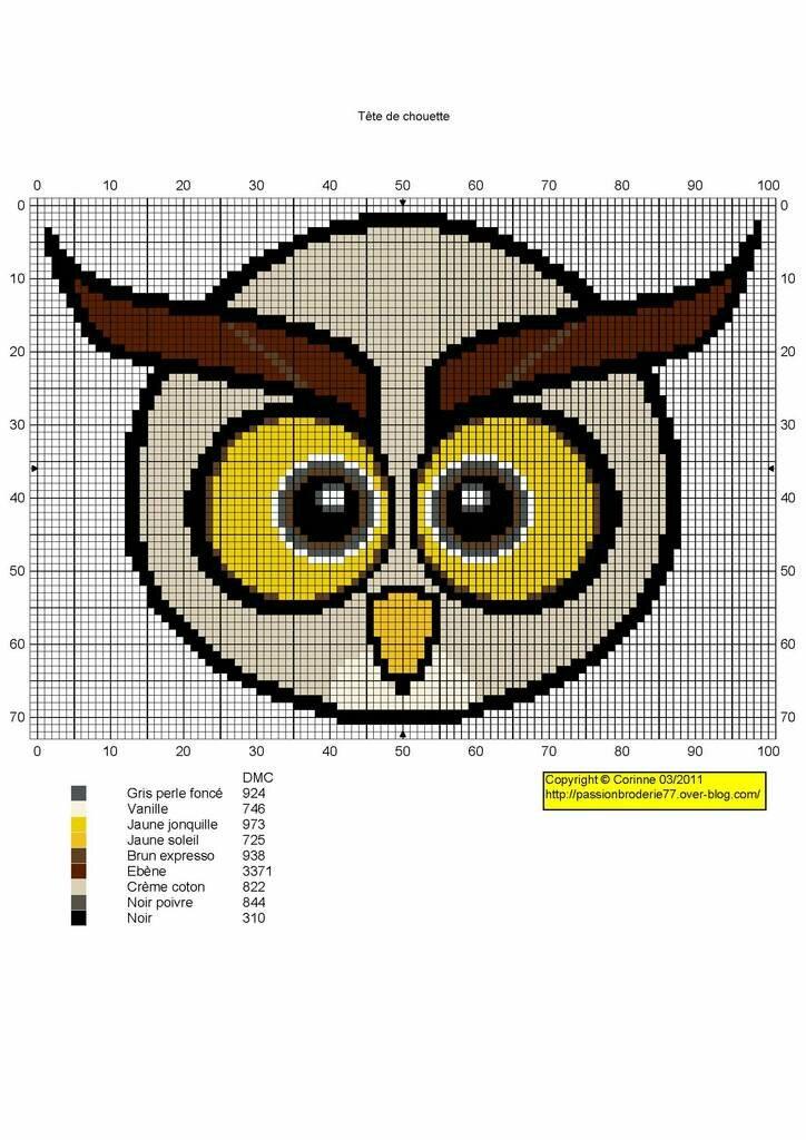 как связать рисунок сова спицами схема