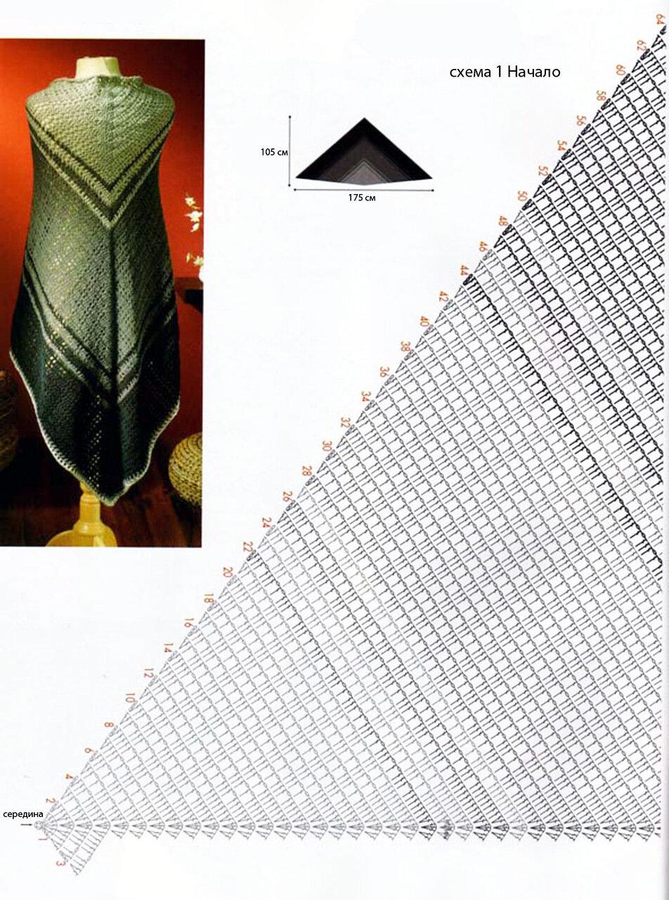 схема вязания платка крючком простой