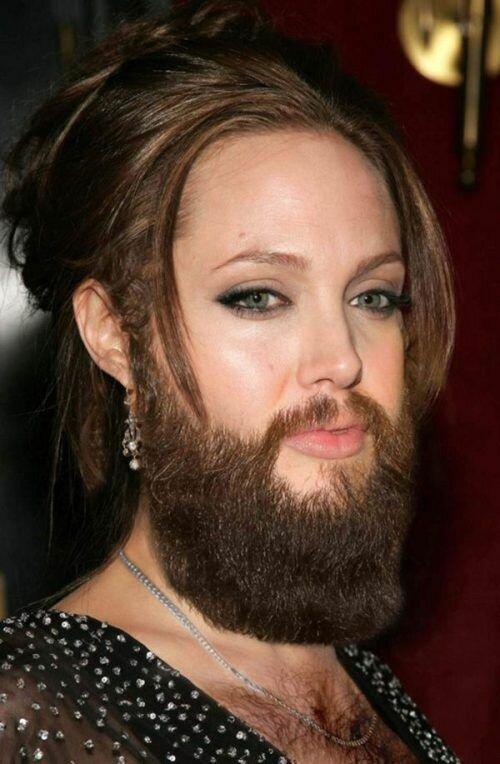 Если бы известные девушки носили бороды