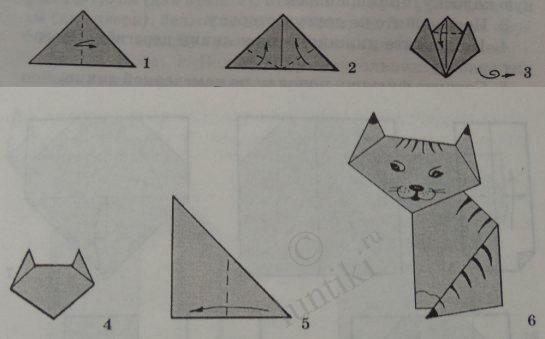 Как сделать бумажный кошку