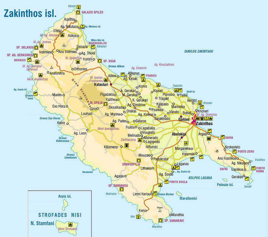 Карта острова Закинф