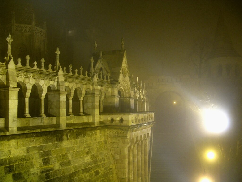 Buda castle, night, fog