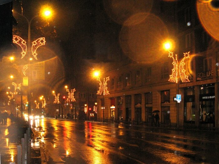 Новогодняя ночь на улицах Будапешта