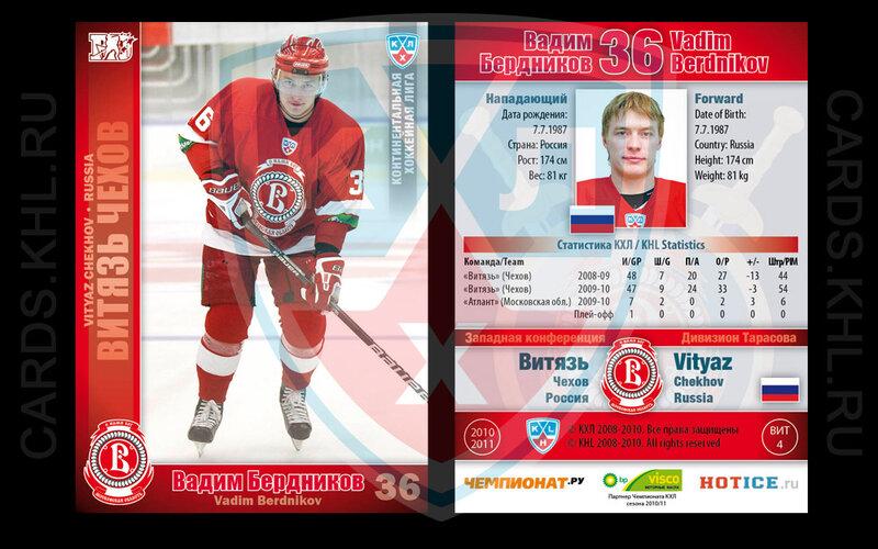 Хоккейные карточки ХК Витязь Чехов сезона 2010-2011 КХЛ