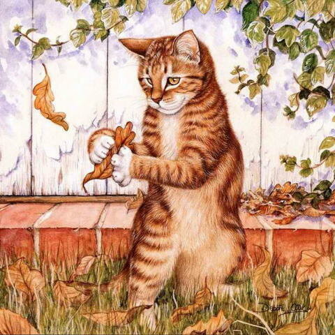 Paintings with autumn cat.  Cat, pumpkin and fall of the leaves in fine art.