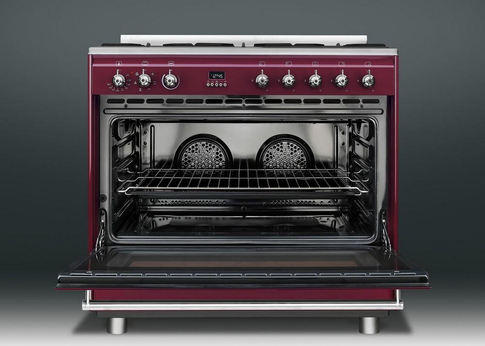 красная бардовая кухонная плита 90 см шириной Smeg