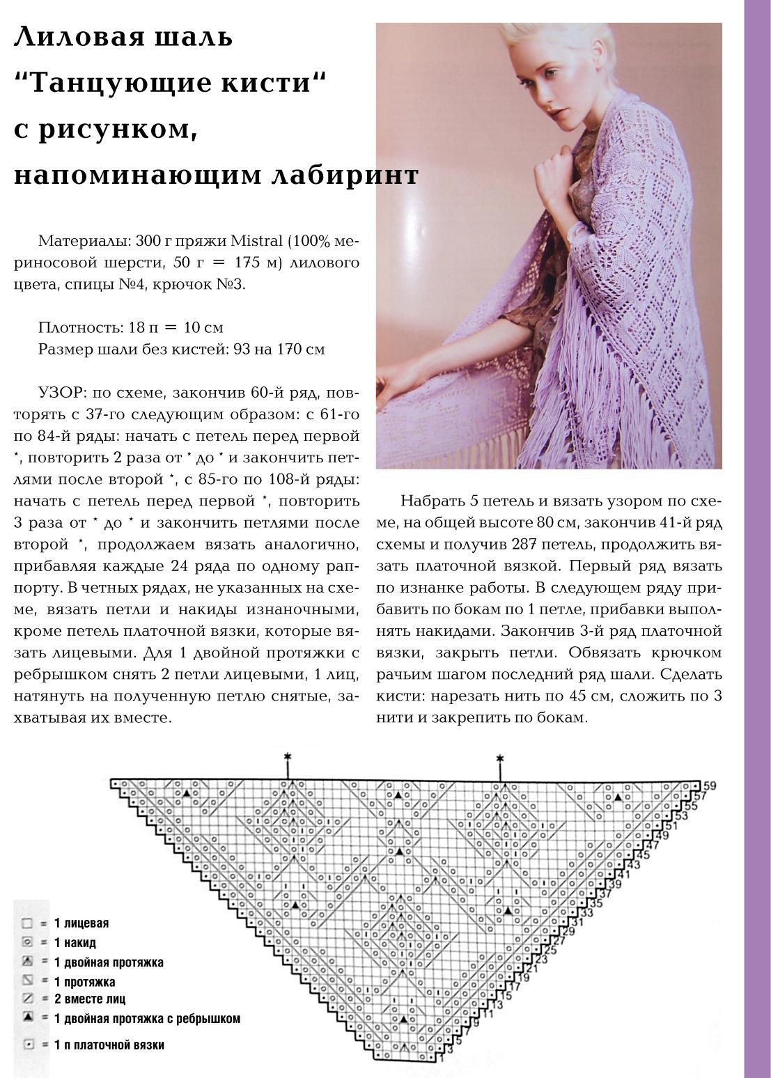 Вязание шали спицами схемы несложные