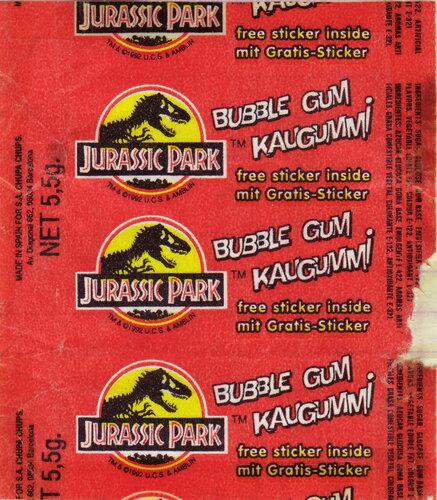 Вкладыши от жевательной резинки - Jurassic Park (Spain)