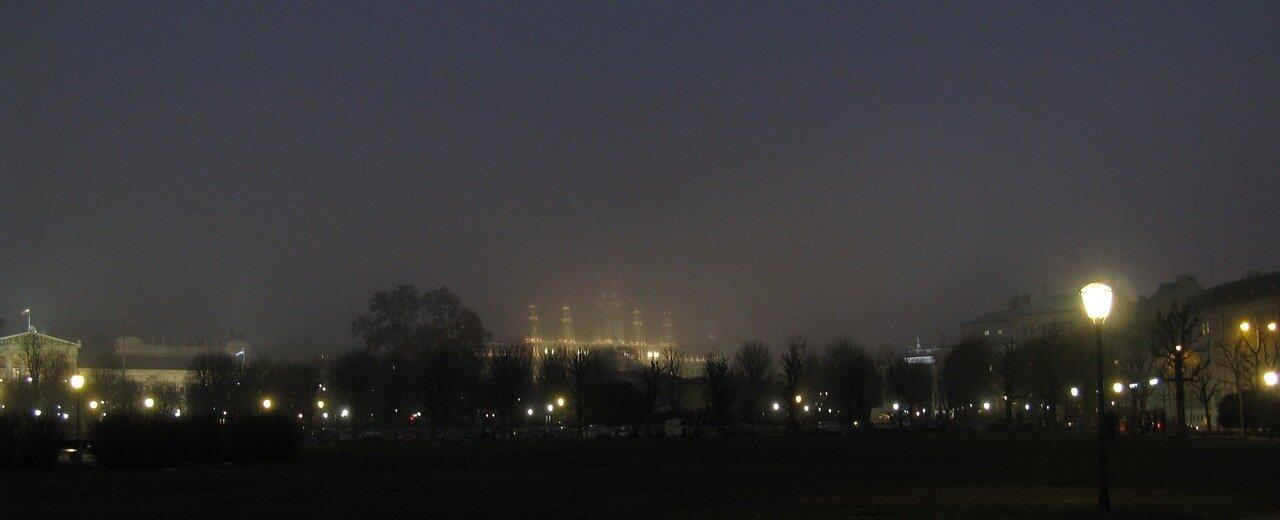 Vienna in the night fog