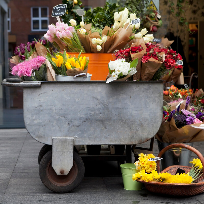 Colorful variety of flowers in iron trolley