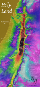 Рельеф и высоты Израиля. Спутниковая съёмка  ETM+