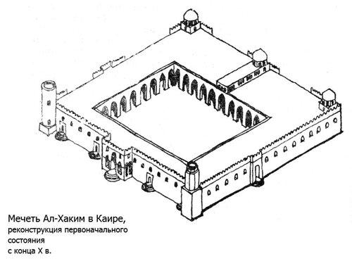 Мечеть Ал-Хаким в Каире, реконструкция первоначального состояния с конца X в.