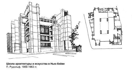 Школа архитектуры и искусства в Нью-Хейве, чертежи