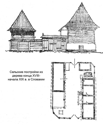 Сельские постройки из дерева конца XVIII- начала XIX в. в Словакии, чертежи