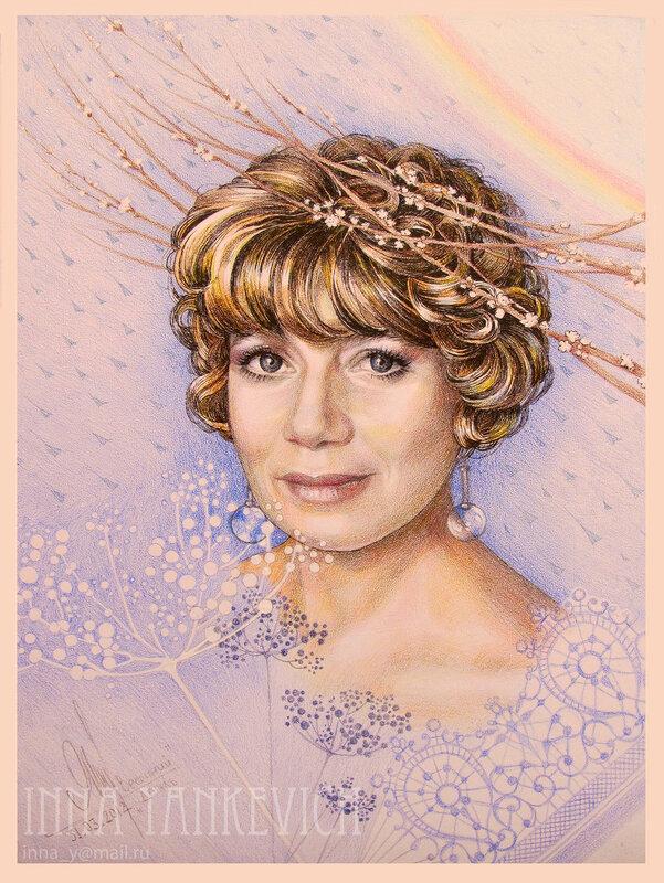"""Портрет """"Весенний дождь"""" Бумага. Цв. карандаши. 29х40см. 2012г."""