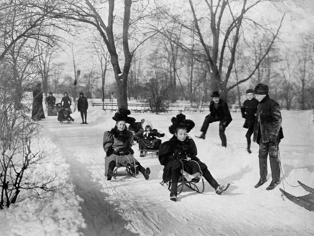 Children Sledding in Central Park 1900