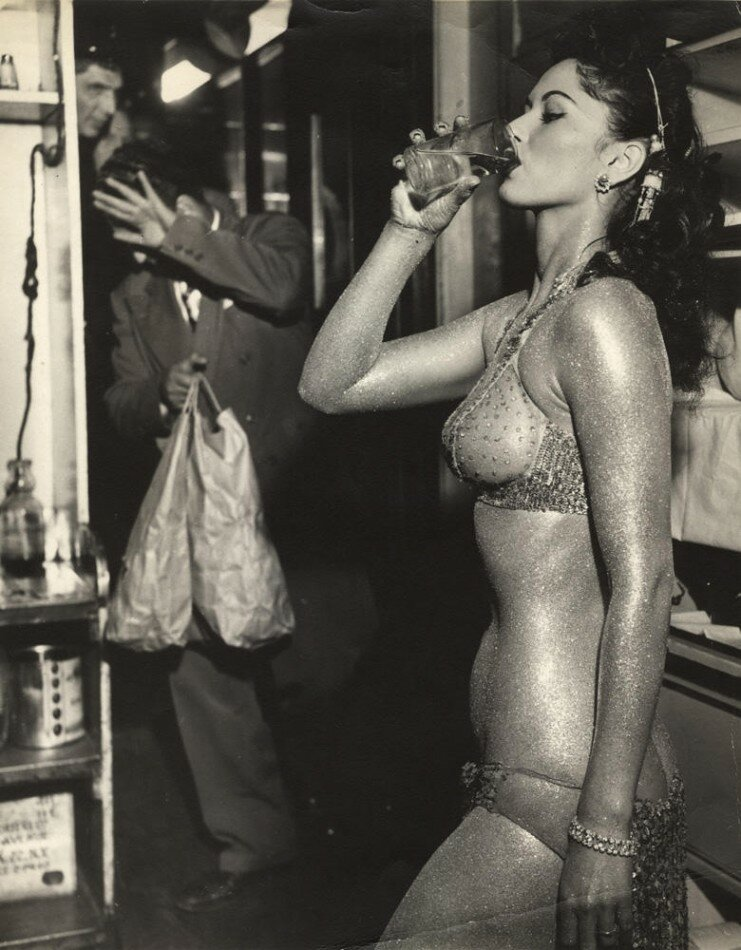 Gold Painted Stripper, New York 1950