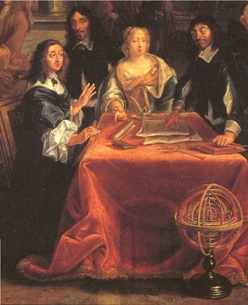 Queen Christina of Sweden (left) and René Descarte, Versailles.