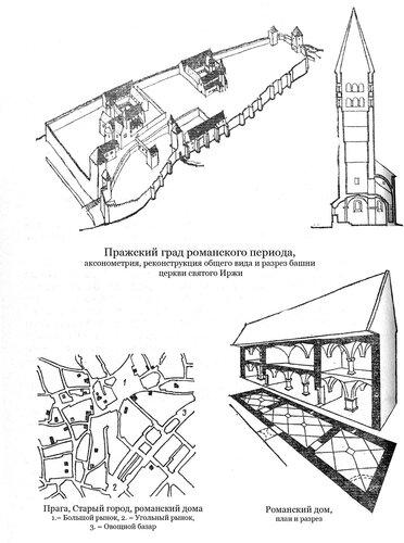 Пражский град романского периода, аксонометрия, реконструкция общего вида и разрез башни церкви святого Иржи