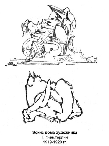Эскиз дома художника Г. Финстерлин, чертежи