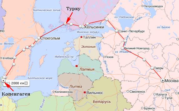 Карта маршрута автостопного путешествия в Европу