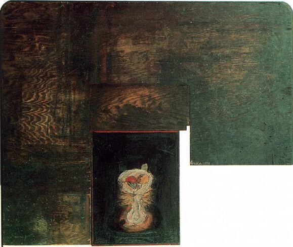 Четыре утра. 1988. Борис Смертин. Дерево, рельеф, масло. 88.5х106 см.