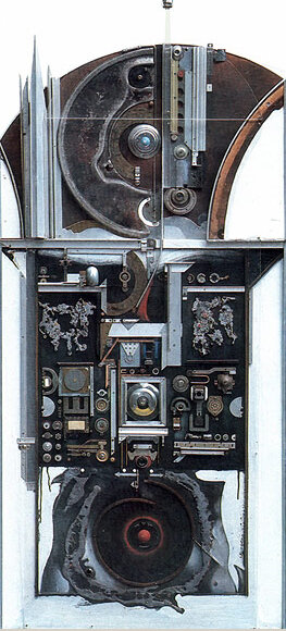 Сеанс связи. 1988. Борис Смертин. Ассамбляж, масло. 148х69.5 см.