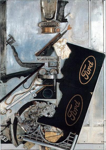 Форд образца 1960г. 1982. Борис Смертин. Ассамбляж, масло. 89х59 см.