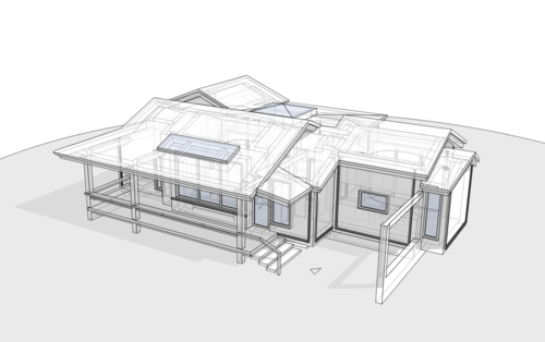 Жилой дом для одной семьи, с террасой и остекленной площадкой-патио с камином. 110 кв.м.