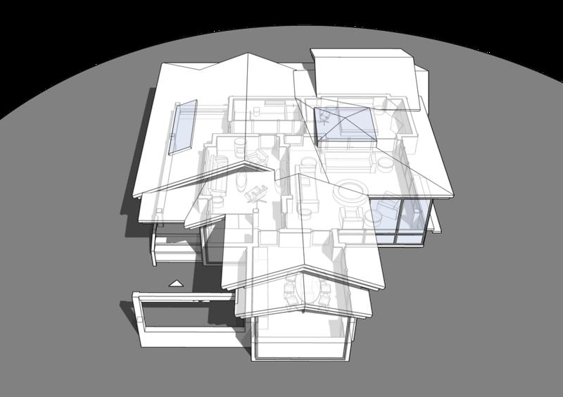 Вид сверху. Дом на одну семью с террасой, план  с расстановкой мебели