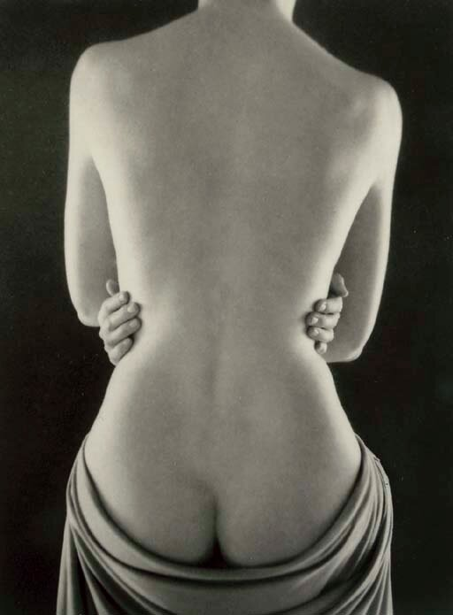 photo by Ruth Bernhard.Classic Torso with Hands, 1962