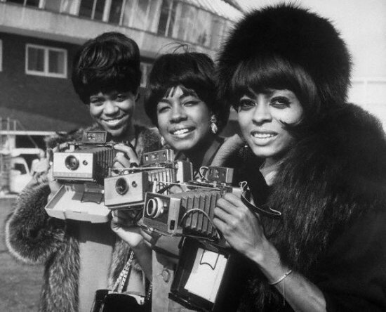 The Supremes with their Polaroid Land cameras