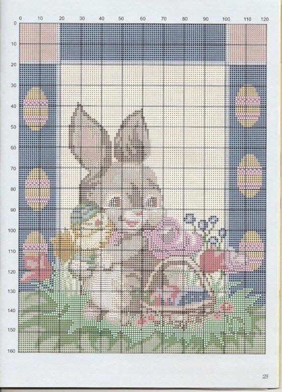 Пасхальный заяц.  Вышивка крестом, схемы. источник.