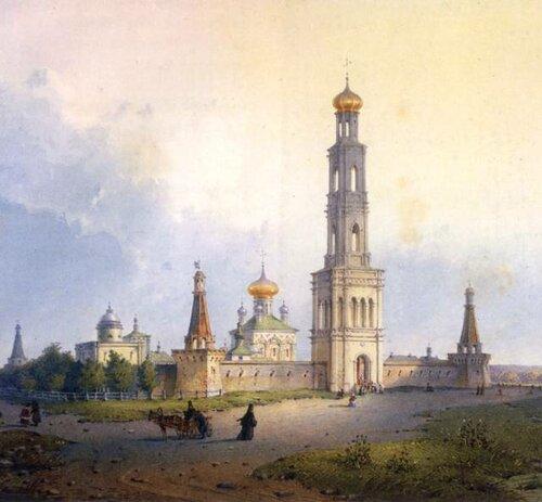 Вид московского Симонова монастыря. Акварель середины XIX века.