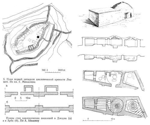 Планы стен циклопических поселений в Джауке (а) и в Арба (б). По А. Айвазяну