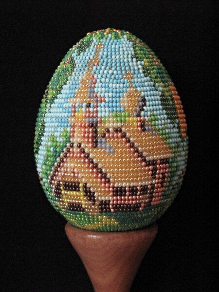 """u-ellin Бисерное яйцо  """" Церковь  """" бисер бисероплетение пасхальное яйцо ручное ткачество яйца из бисера."""