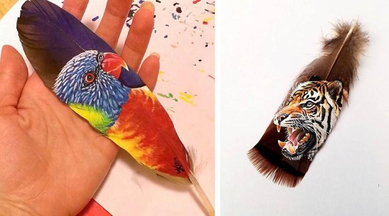 Реалистичные портреты животных на перьях птиц