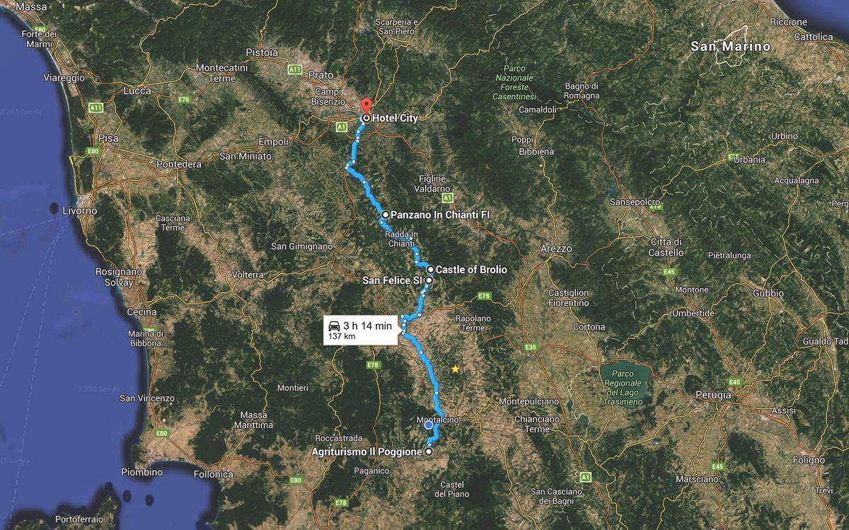 Дорога насыщена интереснейшими чек-поинтами, мы выбрали два изначально — винодельня San Felice и зам