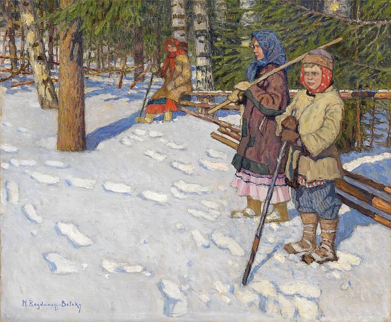 Николай Петрович Богданов-Бельский (1868-1945)Дети в зимнеим лесу.jpg