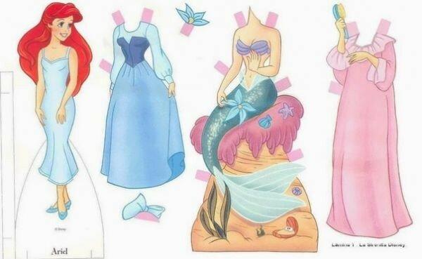 Диснеевские персонажи в виде бумажных кукол