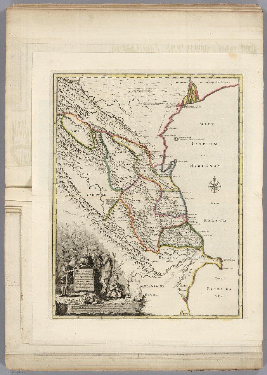 1728. Карта земель между Волгой и Каспийским морем