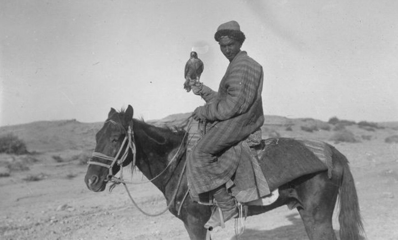 Окрестности Яркенда. Киргизский охотник с ястребом