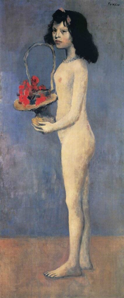 Young naked girl with flower basket-1905 Юная обнажённая девушка с корзинкой цветов., Пабло Пикасо (1881-1973)